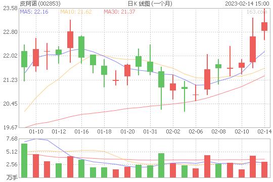 皮阿诺002853股票最新价格
