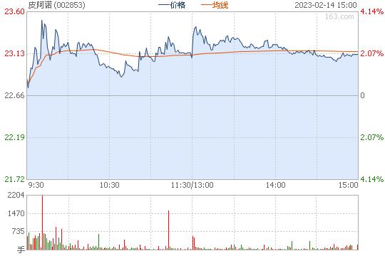 皮阿诺002853股票行情图